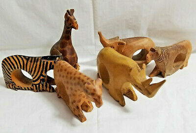 Primary image for 6 Jedando Kenya Handicrafts Wild Animals Napkin Rings Craved Mahogany Wood #2