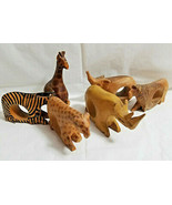 6 Jedando Kenya Handicrafts Wild Animals Napkin Rings Craved Mahogany Wo... - $22.99