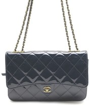 Auth CHANEL Shoulder Bag Navy Matelasse Flap Logo Quilted Medium Pouch B... - $3,202.65
