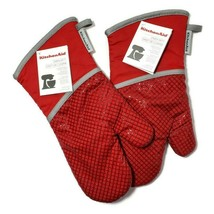 KITCHEN AID 2 PACK MINI MITT 100/% COTTON SILICONE GRIP SAND NWT