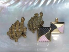 Vintage Lot of Carved Brass Turtles & Pink & Black Painted Swirl Goldton... - $8.59