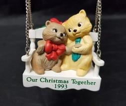 Hallmark Our Christmas Together 1993 Cats On A Swing Christmas Tree Orna... - $11.64