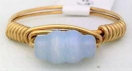 Light Blue Cat Eye Glass Bead Gold Wire Wrap Ring sz.5.5 - $10.07