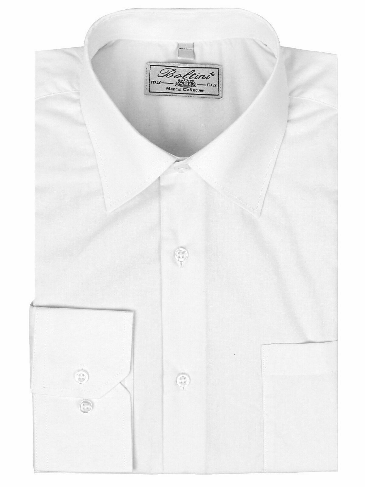 Boltini Italy Men's Long Sleeve Solid Barrel Cuff White Dress Shirt - 3XL
