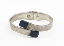 MEXICO 925 Silver - Vintage Lapis Lazuli Detail Bypass Cuff Bracelet - B6256 image 2