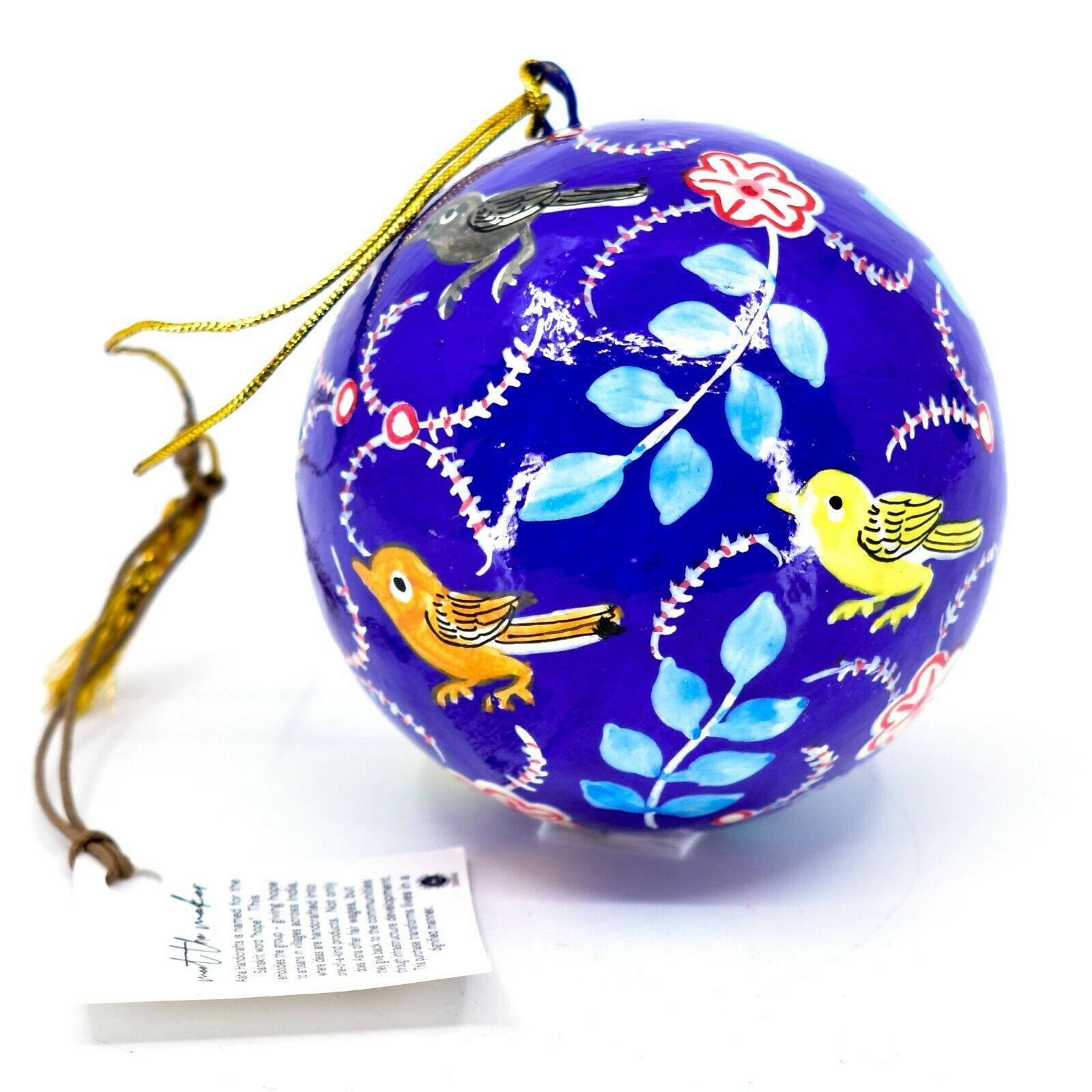 Asha Handicrafts Hand Painted Papier-Mâché Birds Holiday Christmas Ornament