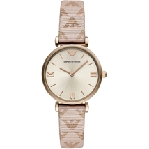Emporio Armani AR11126 Pink leather Stainless Steel Ladies Watch - $194.89