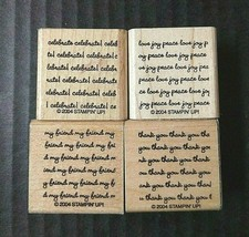 Stampin' Up Rubber Stamps Lot Salutations Expressions Background Repeat ... - $16.89