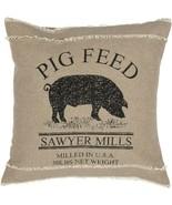 "Pig Farm Pillow Rustic Country Tan Black  Pig 18"" x 18"" Decor Primitive - $22.80"