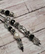 Pearl Crystal Beaded Handmade Purse Planner Charm Keychain Clip Black Si... - $19.39