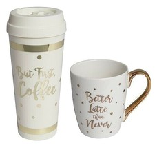Laura Ashley fun, cute But First, Coffee Travel Mug & Coffee Cup great g... - $12.00
