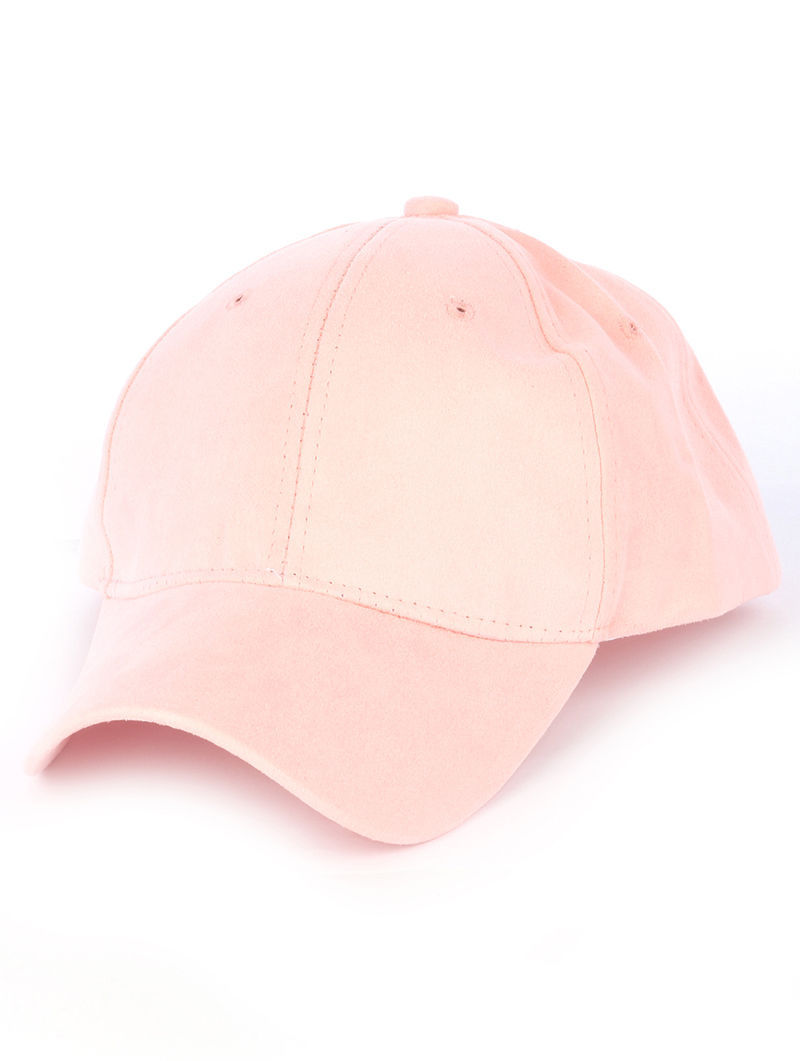 Solid Colored Baseball Cap Fashion Hat - Faux Suede Pink