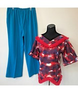 Vintage 1970s Red Handkerchief Hem Fringe Tunic Top Blue Pants Set size ... - $24.95