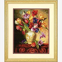 Dimensions Gold Collection Counted Cross Stitch Kit, Parrot Tulips, 14 Count Bla - $21.25