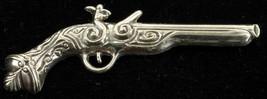 "VINTAGE DECO STERLING RHODIUM PLATED ANTIQUE PISTOL GUN PIN BEAU 2 3/4"" - $67.49"
