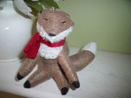 NEW Adorable Brown FOX  Fleece ORNAMENT Wearing RED Scarf WINTER Decor - $4.95