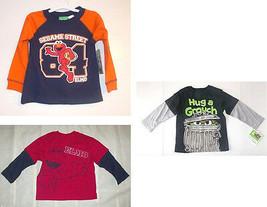 Sesame Street Toddler Boys Long Sleeve T-Shirts Elmo or Grouch Sizes 3T ... - $9.79