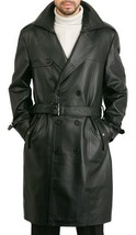 Men Leather Coat Winter Long Leather Coat Genuine Real Leather Trench COAT-UK32 - $214.46