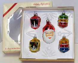 Vintage Glass Christmas Ornaments - Santa Face & 4 Lanterns IOB - $10.00