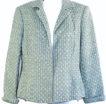 Talbots Blazer 8P Womens Petites Blue Green Metallic Weave Lined Career - $19.35