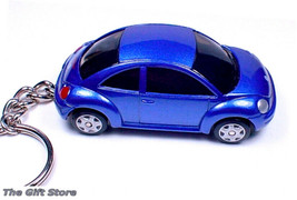 Rare Key Chain Blue Vw New Beetle Volkswagen Bug Volkswagon Limited Edition - $38.94