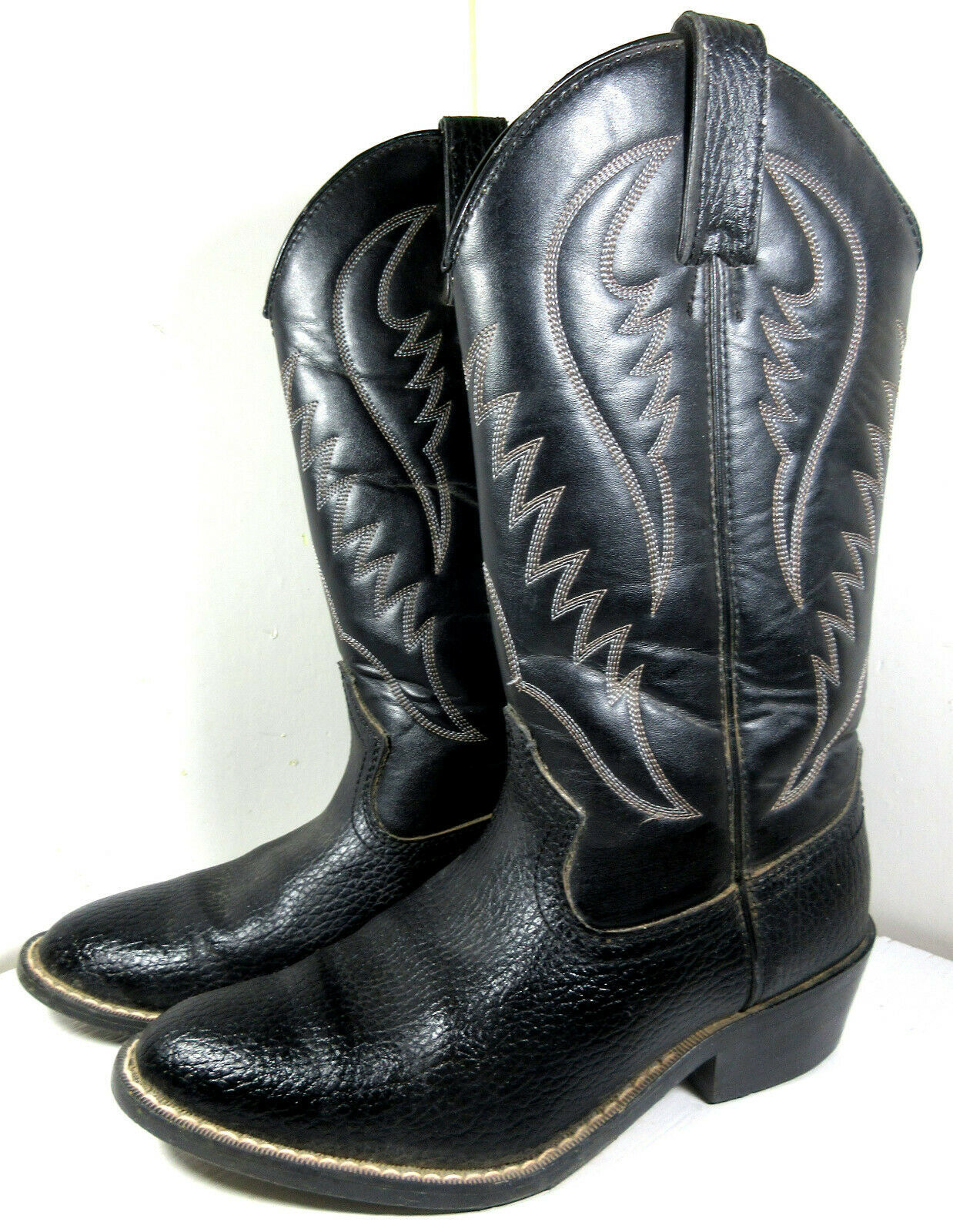 Primary image for Express Rider Trivette Black Faux Leather Cowboy Western Boots Size 8 US Men's