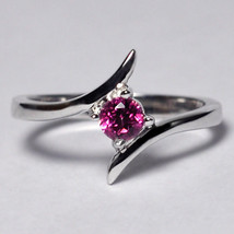 Natural Pink Topaz Bypass Solitaire Promise Ring Women 925 Sterling Silver - $49.00