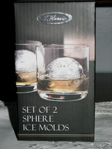 NEW! Unique T.Harris SET OF 2 SPHERE ICE MOLDS Set of 2 Slow Melting Las... - $7.95