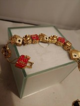 Vintage Matte Gold Tone Playing Cards dice Gambling Slider  Chain braclet - $17.75