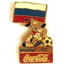 Coca Cola Russia World Cup 1994 Lapel Pin Flag Striker the Dog Soccer Ball - $13.99