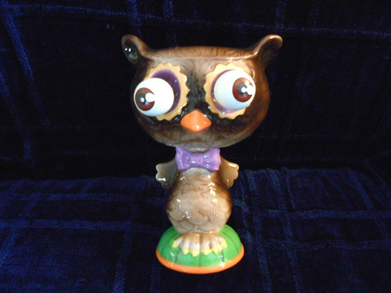 OWL DECOR MOVABLE EYES PURPLE BOW TIE ORANGE BEAK