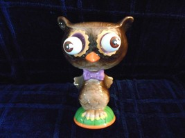 OWL DECOR MOVABLE EYES PURPLE BOW TIE ORANGE BEAK - $18.50