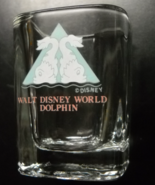 Walt Disney World Dolphin Resort Shot Glass Square Style Clear Glass Pale Blue - $7.99