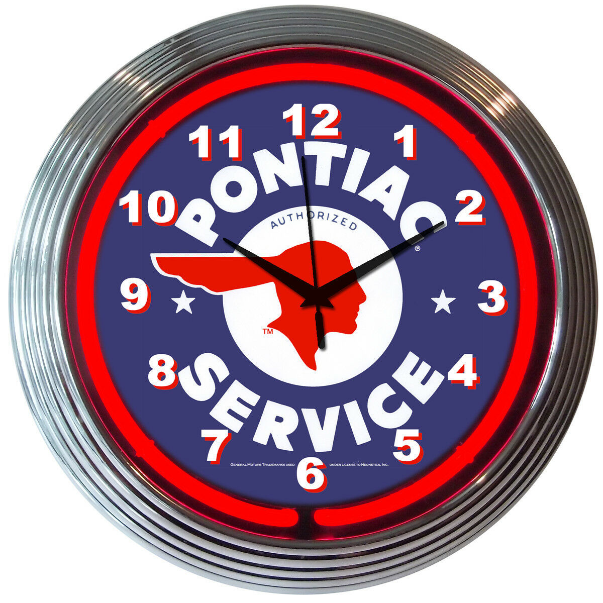 Pontiac Service Auto Neon Clock Blue Red White 15 Inch Office Game Room Garage