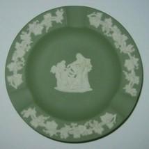 Wedgwood Jasperware Celadon Green Small Round Ashtray Trinket Dish England - $9.46