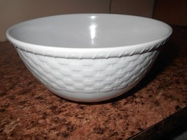 Hard Plastic NEW Large Cereal Bowl white wicker... - $5.89