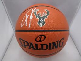 GIANNIS ANTETOKOUNMPO / AUTHOGRAPHED BUCKS LOGO FULL SIZE NBA BASKETBALL / JSA image 1