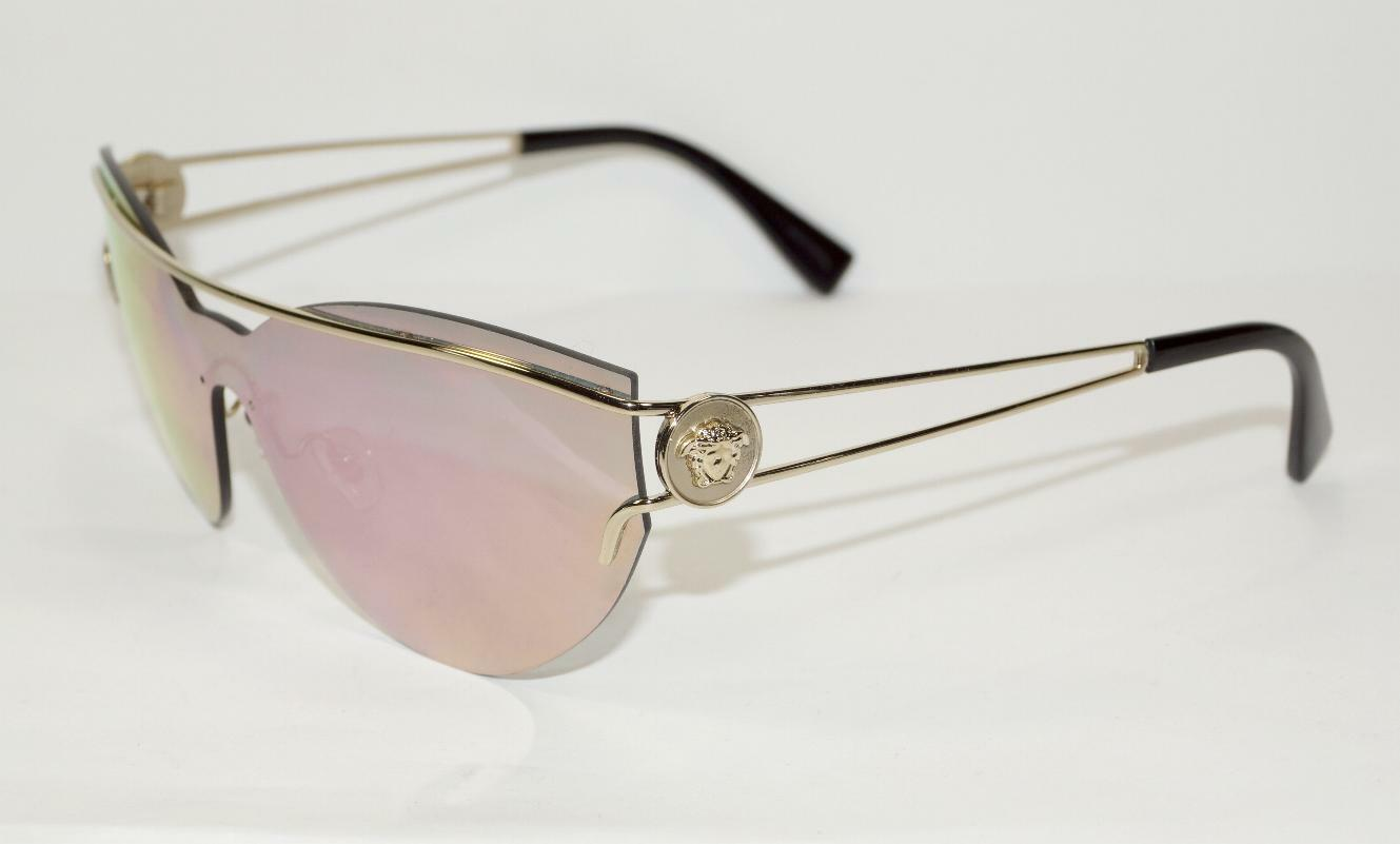 129668f1660 NEW AUTH VERSACE SHIELD PALE GOLD MEDUSA MIRRORED SUNGLASSES 2186 w CASE -  ITALY