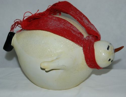 Fantastic Crafts Belly Sliding Snowman FR6410 Off White 9 Inches Red Scarf