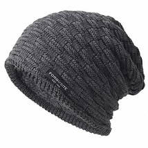 Ruphedy Mens Winter Knit Beanie Hat Slouchy Thick Fleece Lined Skull Cap... - $15.84