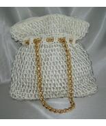 Vintage SIMON New York MISTER ERNEST (Italy) Clear Beaded White Straw Ba... - $58.70