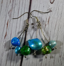 Handmade Pearl Dangle Earrings - Green and Blues  - $28.00