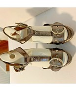 "Guess Womens Sz 8 M Buckle Sandal Heels Gold Metallic 5.5"" Heel Shoes - $14.20"