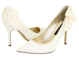 Nina Quenna Women's Wedding Ribbon Ruffle Detailing Ivory Shoes - $98.99