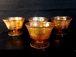 Set/4 NORMANDIE Carnival Depression Federal Glass SHERBET aka Bouquet & ... - $17.00