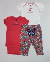 Carters 3 Piece Set for Girls Newborn 9 or 12 Months Floral Butterfly Design - $13.95