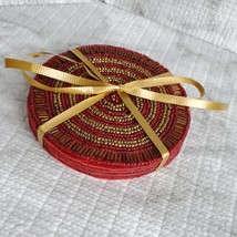 Beaded Coasters, Red & Gold, set of 4, fabric bead mats, holiday coasters image 7
