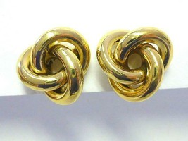 Vintage NAPIER Bright Gold Love KNOTS Button Clip Back Earrings CLASSIC MCM - $18.04