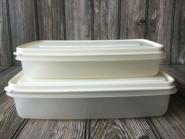 Lot of 2 Rubbermaid Servin Saver 0002 & 0004 Rectangle Container w/Almon... - $18.39