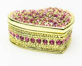 Red Heart Trinket box  hand made by Keren Kopal & Austrian crystals Faberge - $38.70
